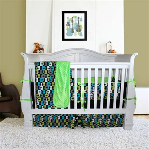 Groovy Guitars Rock N Roll Crib Set 3 Piece Set Or Toddler Rock And Roll Crib Bedding