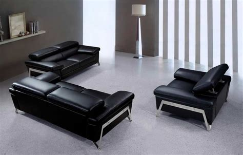 Modern Black Leather Sofas Modern Black Leather Sofa Set Vg724 Leather Sofas