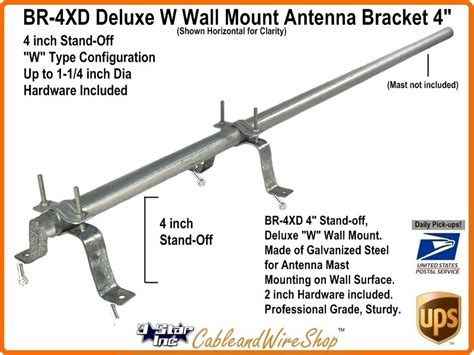 4 inch tv antenna mast wall mount w bracket br 4xd 3 incorporated
