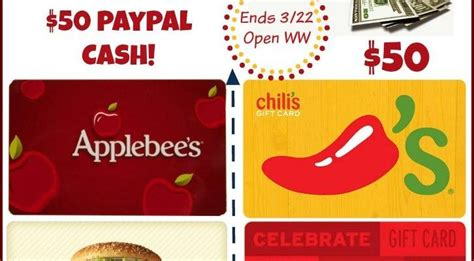 Restaurant Gift Cards Paypal - win 50 gift card to restaurant of your choice or paypal