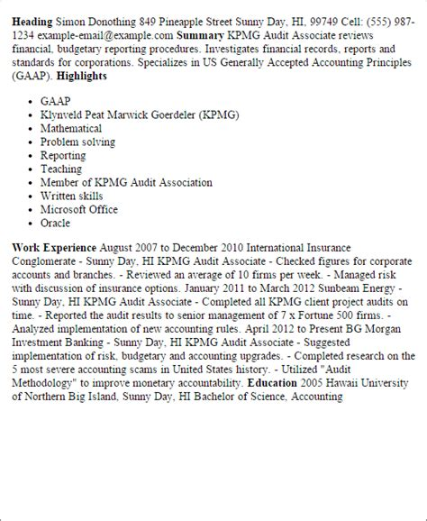 1 kpmg audit associate resume templates try them now