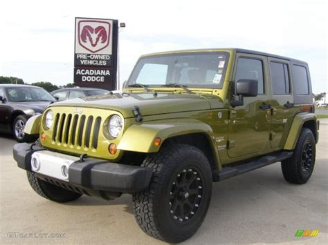 dark green jeep wrangler 2008 rescue green metallic jeep wrangler unlimited sahara