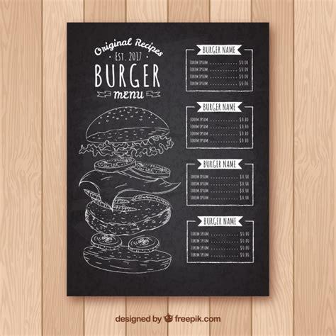 download desain daftar menu cafe blackboard met burger menu sjabloon vector gratis download