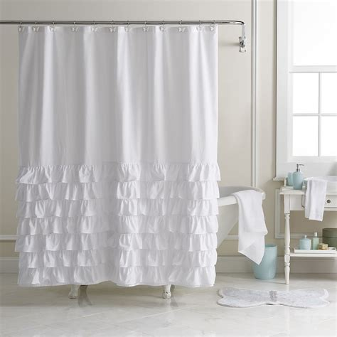 ruffle fabric shower curtain lc lauren conrad ella ruffle fabric shower curtain