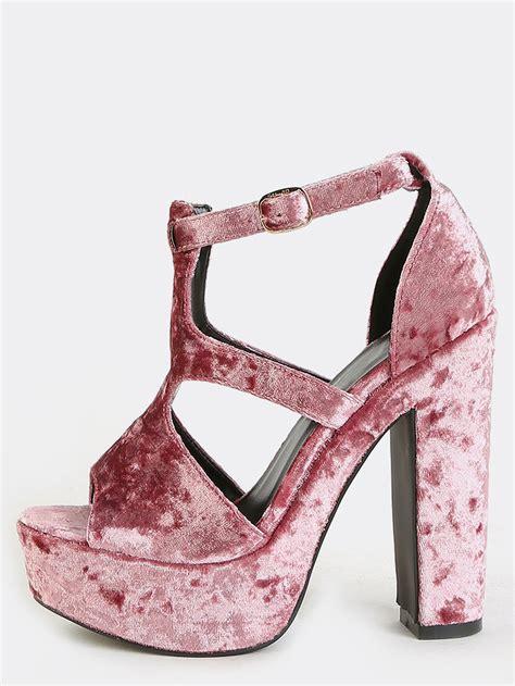 mauve high heels crushed velvet platform heels mauve makemechic
