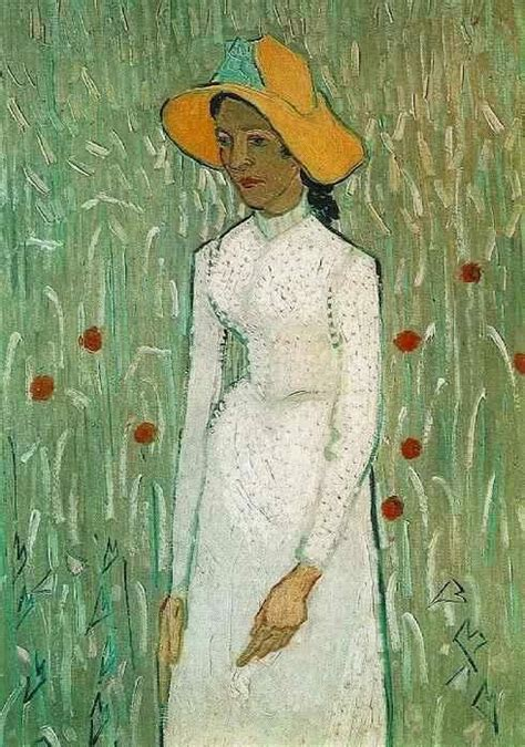 peasant against a background of wheat vincent gogh flower beds in painting framed
