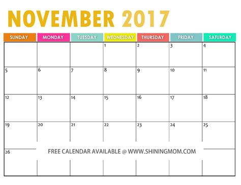 The Free Printable 2017 Calendar By Shining Mom Free Calendar Template 2017 November