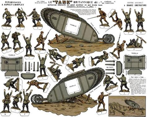 printable paper toy soldiers wwi s german and english soldiers with a tank vintage