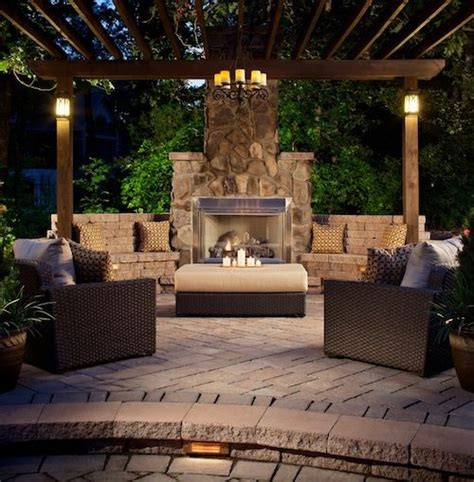 outdoor fireplace and pergola home decor