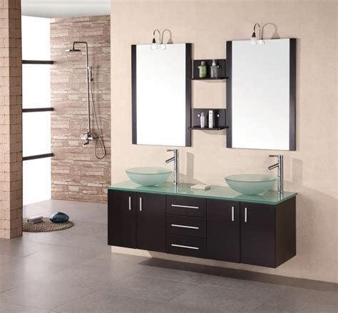 61 Inch Modern Double Vessel Sink Bathroom Vanity in Espresso UVDE00561