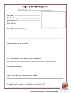 biography information for elementary students biography report form organizer free printable