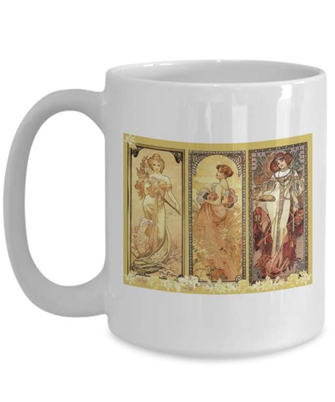 design mugs to sell art nouveau design coffee mug beautiful women triptych