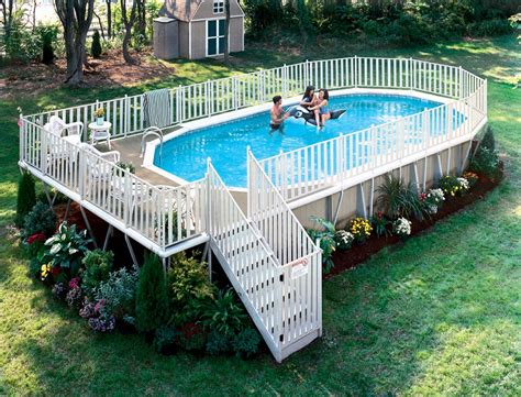 Backyard Pools With Deck Free Deck Plans Above Ground Swimming Pools Backyard