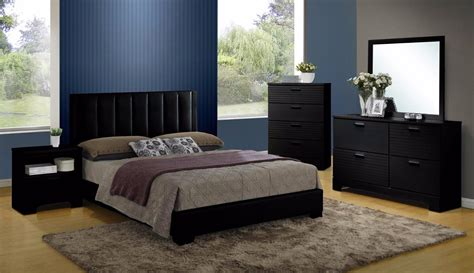 4 Size Bedroom Sets by Contemporary Modern Black Faux Leather 4pc Size