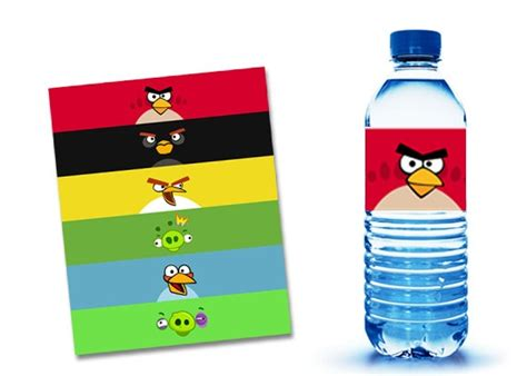 angry bird water bottle label birthday theme angry