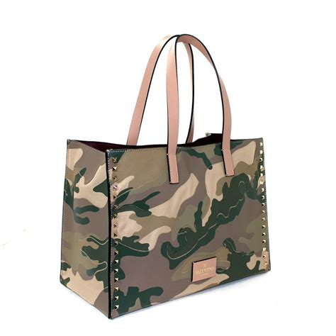 Stud Style Bag 7 valentino rock stud tote camo green leather and canvas at 1stdibs