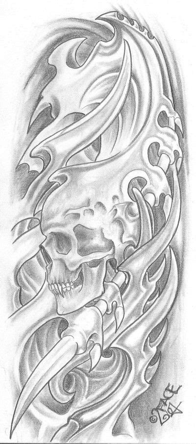 chest tattoo designs drawings bio mecanic skull drawings bio mechanical for