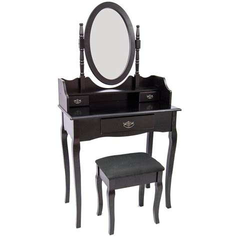 black bedroom vanity table nishano dressing table 3 drawer stool black makeup mirror
