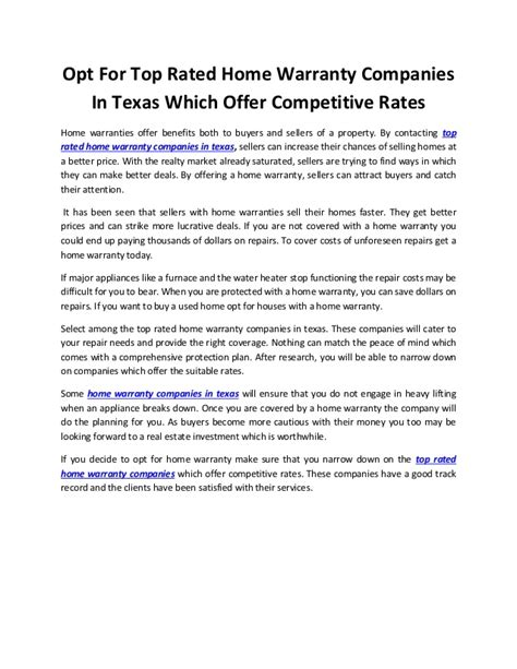 opt for top rated home warranty companies in texas which