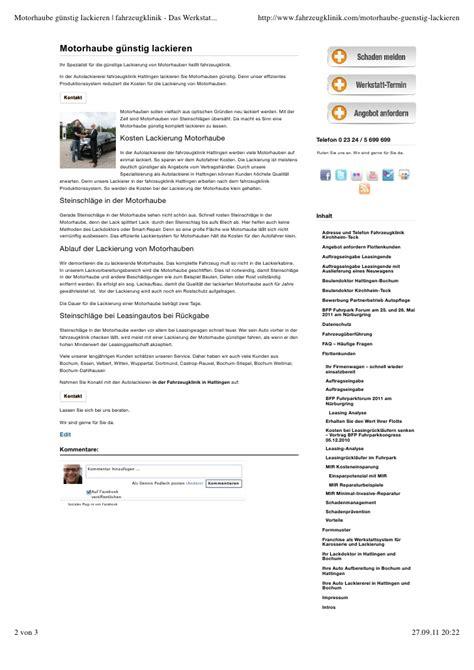 Lackieren Kosten Motorhaube by Motorhaube G 252 Nstig Lackieren Fahrzeugklinik