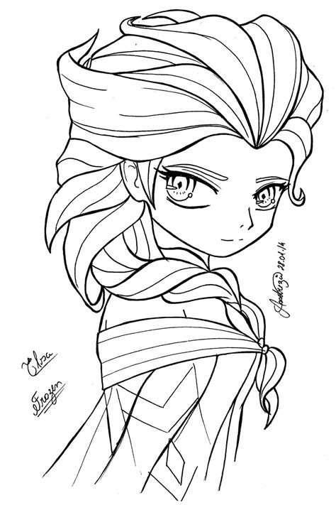 chibi elsa coloring page queen elsa frozen by tifayuy on deviantart