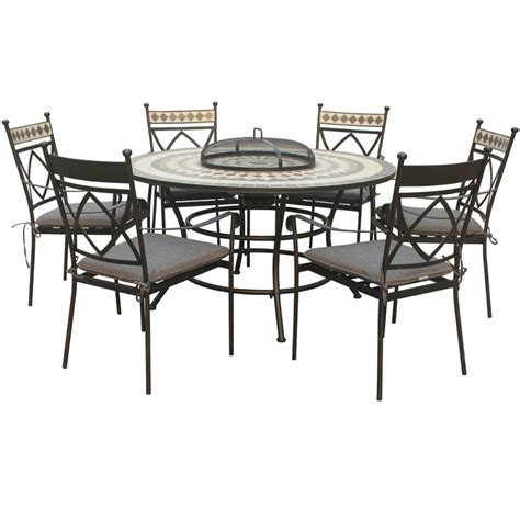 Patio Dining Sets Seats 6 by Lg Outdoor Casablanca 6 Seat Firepit Garden Dining Set