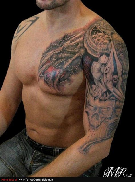 nice tattoo for men biomechanical tattoos and designs