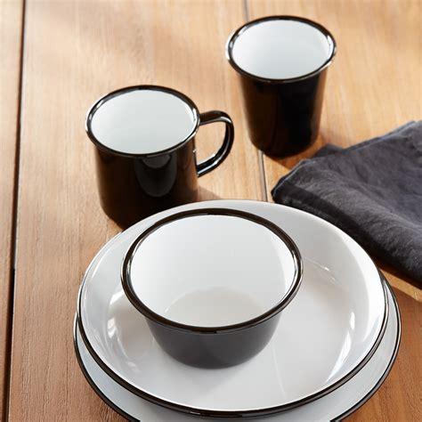 falcon black enamelware plates set   unison
