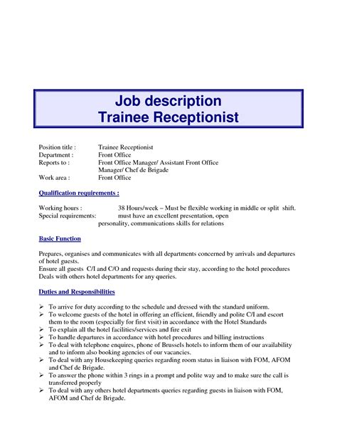 description template receptionist 10 exle resume receptionist description