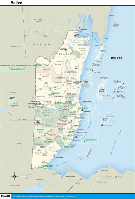 printable map of printable travel maps of belize moon travel guides