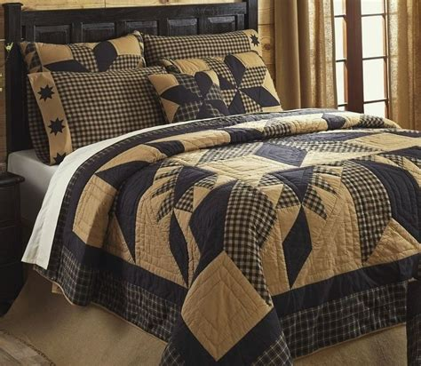 country quilt bedding sets rustic country black star 7pc full queen quilt set