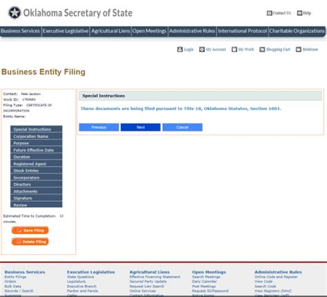section 1001 of title 18 free oklahoma articles of incorporation of a forprofit