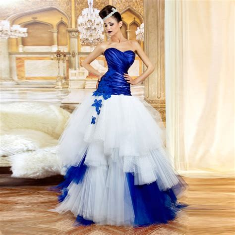 white and blue wedding dresses strapless sweetheart gown royal blue and white