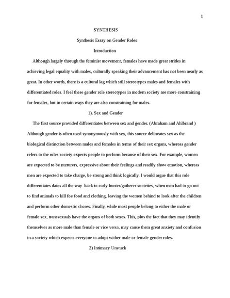 Gender Roles In Tales Research Paper by Synthesis Essay On Gender Roles Term Paper Exle Topics And Sles
