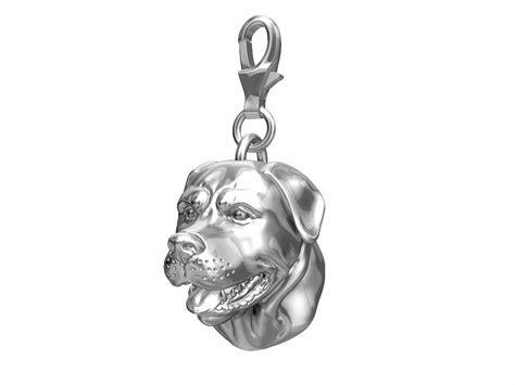 Rottweiler Charm   Head   Sterling Silver   Fits Pandora Bracelet