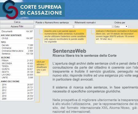 Banche Dati Sentenze by Sentenze Civili E Penali Della Cassazione Ora Consultabili