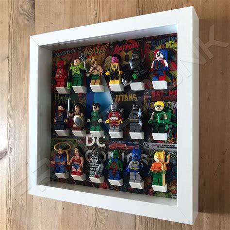 figure frame lego dc comics minifigure display frame white frame