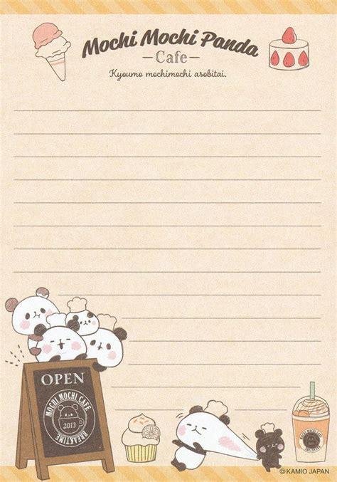 cute kawaii letter paper panda bears cafe