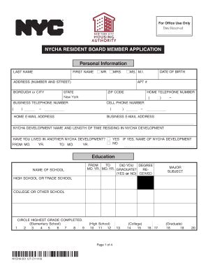 nycha housing number nycha housing application pdf forms and templates fillable printable sles for