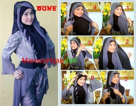 9 gambar tutorial berhijab modern dan kumpulan cara memakai jilbab dan tutorial hijab modern