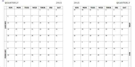 Printable Quarter Calendar 2015 | 2015 quarter calendar template search results calendar