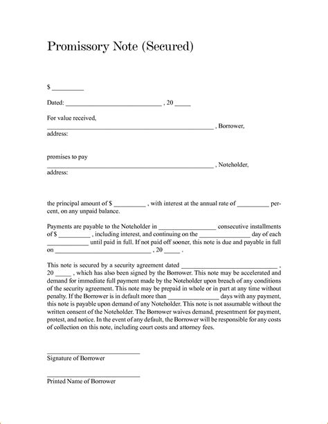 free secured promissory note template word free promissory note template word bamboodownunder