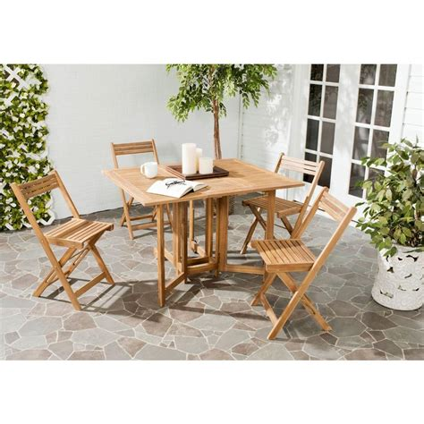 Safavieh Arvin Teak 5 Piece Patio Dining Set Pat7001a Patio Dining Sets Home Depot