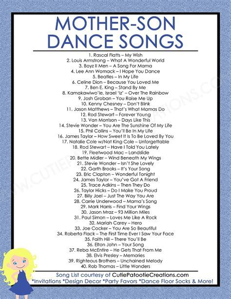 FREE Printable List of Top 40 Mother Son Dance Songs for