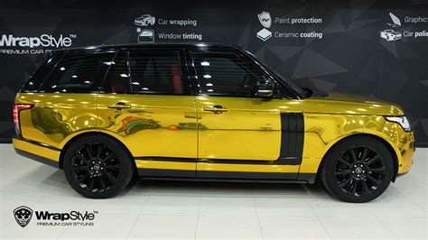 gold chrome range rover wrapstyle premium car wrap car dubai chrome