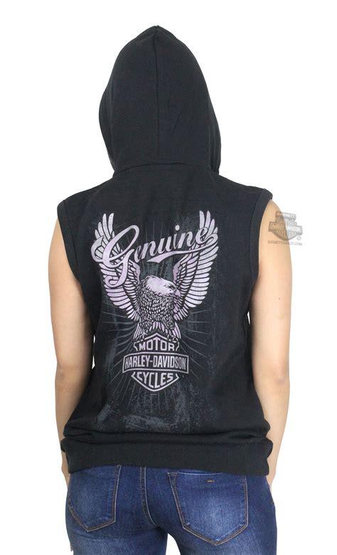Hoodie Harley Davidson Abu harley davidson 174 womens genuine eagle fleece zip black sleeveless hoodie