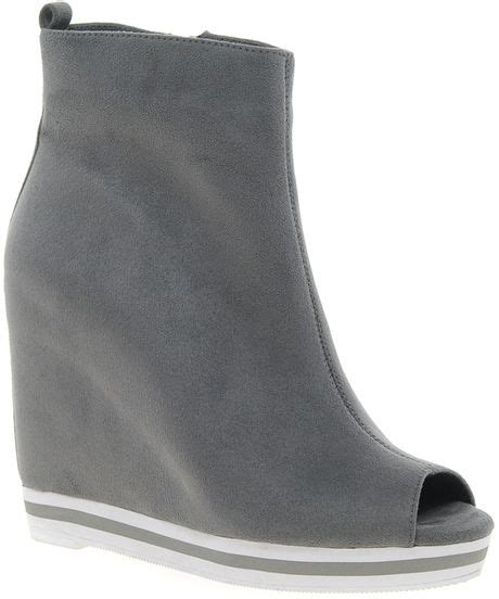 asos athlete wedge ankle boots in gray grey lyst