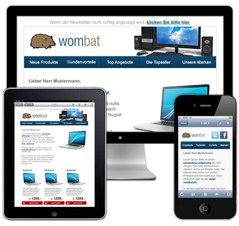 Gratis Mobile Email Template Wombat Email Lounge Mobile Newsletter Template