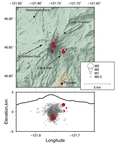 earthquake depth scientists say recent quake swarm at rainier doesn t