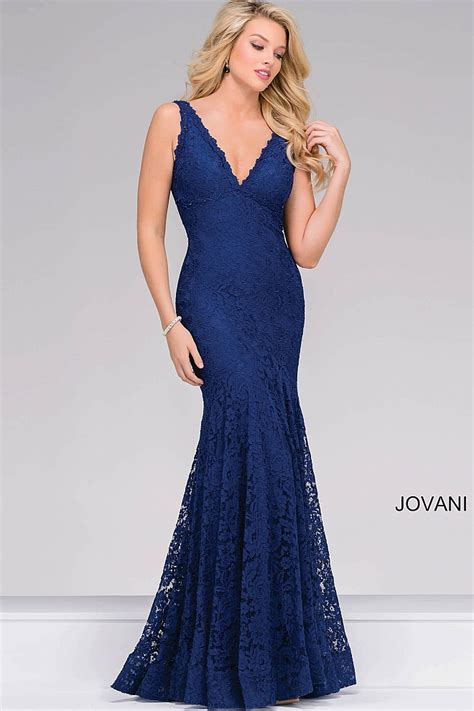 navy sleeveless fitted lace open back prom dress